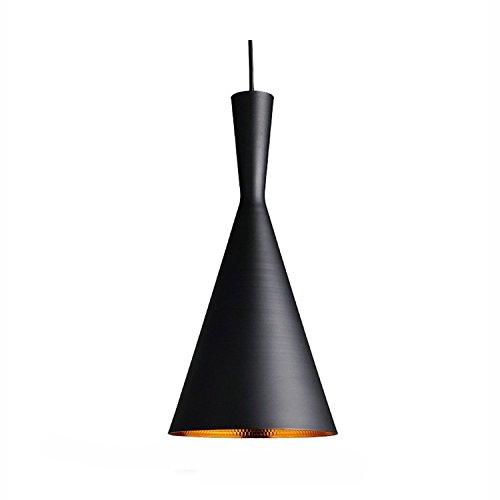 Asvert Retro Industrie Hängeleuchte Pendelleuchte Metall 19cm Art Deco Vintage Deckenleuchte Simplicity Design E27 Fassung für Esstisch Küche Kaffee Bar Loft Beleuchtung, (außen schwarz innen gold) -