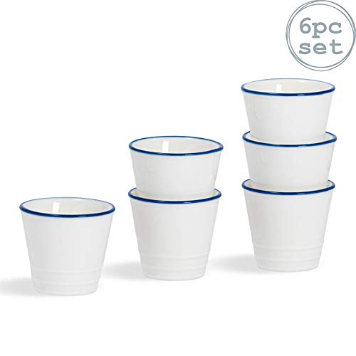 Nicola Spring Ferme Breakfast Egg Cup - 5cm - Blanc/Bleu - Lot de 6