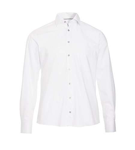 Hatico - Regular Fit - Bügelfreies Herren Langarm Hemd mit Kent Kragen in verschiedenen Farben (3037 210) Weiß (900)