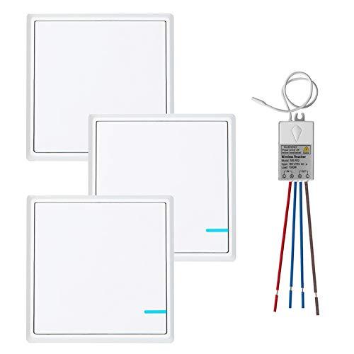 TSSS Funkschalter Lichtschalter mit Empfänger LED Anzeige Licht Set - Außen 600m Drinnen 40m - Schnell erstellen Ein/Aus Fernbedienung Deckenlampe LED Lampen Birne (3 Steuerung 1) (Lampen-set 3)