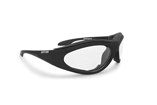 BERTONI Motorradbrille Beschlagfrei Windschutz – Matt Schwarz AF125 Bikerbrillen (Transparent Lens)