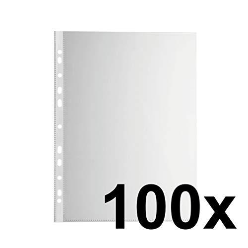Falken Economy PP-Kunststoff Prospekthüllen für DIN A4 transparent glasklar oben offen 100er Pack Klarsichtfolie Plastikhülle Klarsichthülle ideal für Ordner Ringbücher und Hefter