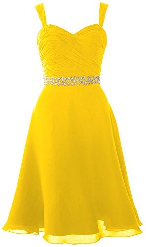 MACloth Elegant Straps Chiffon Cocktail Dress Short Wedding Party Formal Gown yellow