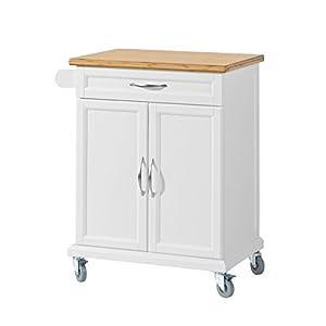 SoBuy FKW13-WN Küchenwagen mit Bambustischplatte Küchenschrank Kücheninsel weiß BHT ca.: 66x91x46cm