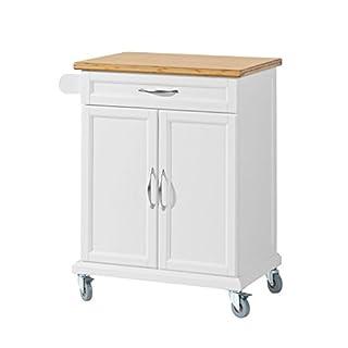 SoBuy® FKW13-WN Küchenwagen mit Bambustischplatte, Küchenschrank, Kücheninsel, weiß, BHT ca.: 66x91x46cm