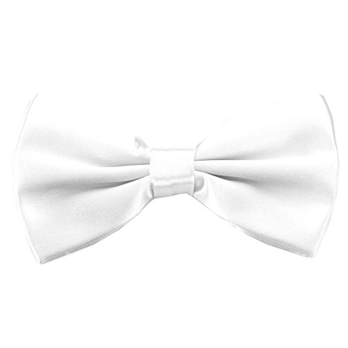 pensee-papillon-pre-annodato-lucido-regolabile-smoking-solid-bow-ties-more-22-colori-white-taglia-un