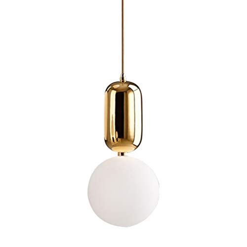 Kronleuchter Nordic Modernen Minimalistischen Schmiedeeisen Lampe Kreative Persönlichkeit Glas Lampenschirm Deckenleuchte, Restaurant Bar Cafe (Color : Gold, Size : 15cm x 30cm)