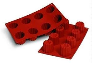 Stampo per dolci -stampo da forno - per 8 cannelés - 100% silicone - Ø 5 cm, altezza 5 cm ciascuno