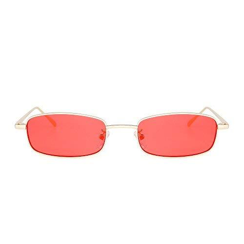 JIM HALO Klein Klar Linse Getönte Sonnenbrille Schlankes rechteckiges Metall Brillen Damen Herren (Gold/Rot)
