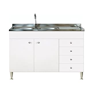 Mueble de cocina con 2puertas y cajonera derecha, con fregadero inoxidable 120, base de fregadero modular