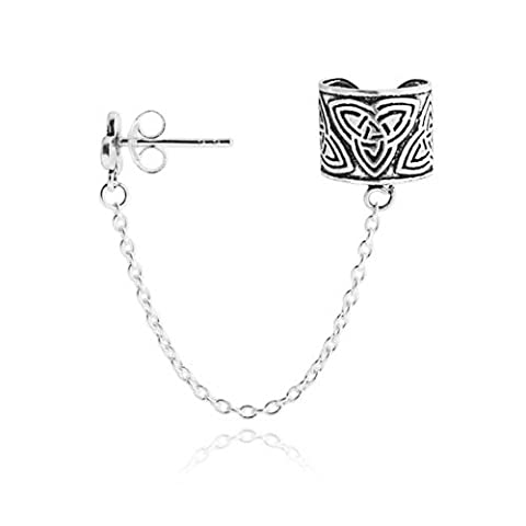 Celtic Knot Triquetra Ear Cuff Chain One Piece 925 Silver