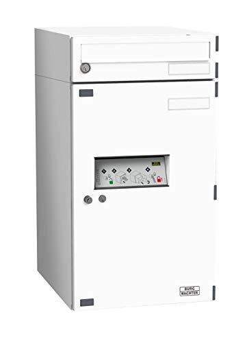 BURG-WÄCHTER Paketbox eBoxx EA 634 SW (mit Benachrichtigungskarte, Inkl. separatem Brieffach, Stahl, 690 x 380 x 450 mm, 20/98 l Volumen) weiß
