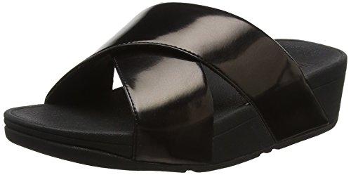 Fitflop Lulu Cross Slide Sandals-Mirror, Sandali Donna, Nero (Black 484), 38 EU