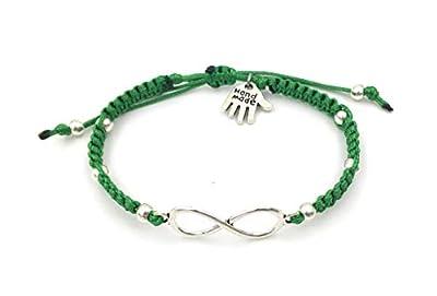 """Bracelet en macramé""""Infinity"""", Vert, Unisexe, Fait à la Main"""
