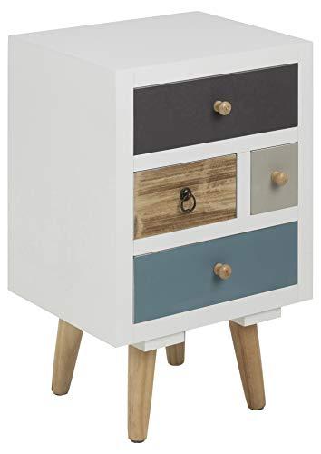 Colore: Naturale in Legno Vida Designs Panama in Pino massello Finitura a Cera Bedroom Furniture-Cassettiera a 4 cassetti