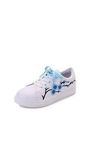 piane scarpe bianche casuali signora ricamati fiori scarpe basse poco profonda della bocca fine con sceglie i pattini pattini dell'allievo Blue