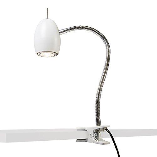 QAZQA Design/Industriel/Moderne/Rétro Plafonnier spot pince Egg blanc Métal Blanc Rond/Lampe de bureau/Lampe de chevet/Lampe de lecture/Luminaire/Lumiere/Éclairage/intérieur/Salon