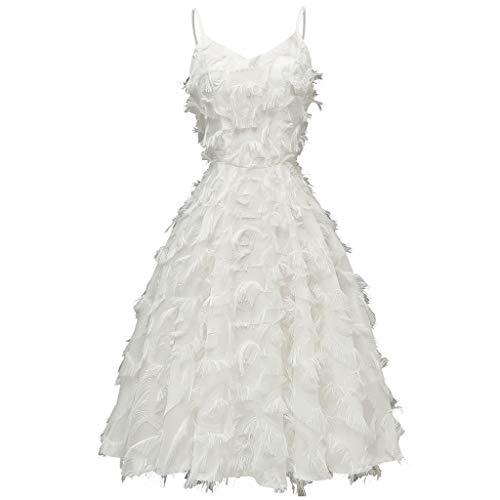BBring Damen Sexy Party Abendkleid Ballkleid Elegant Spaghetti Strap Cami A Linie Faltenrock Groß Größe Kleider Quaste (S, Weiß) -