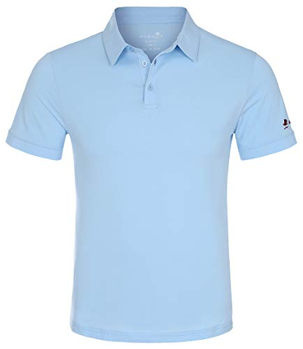 MAROJO Herren Polo Shirt Kurzarm Slim Fit Einfarbig Baumwolle Sommer Poloshirt (Blau, XXL) - Blau Tennis Shirt