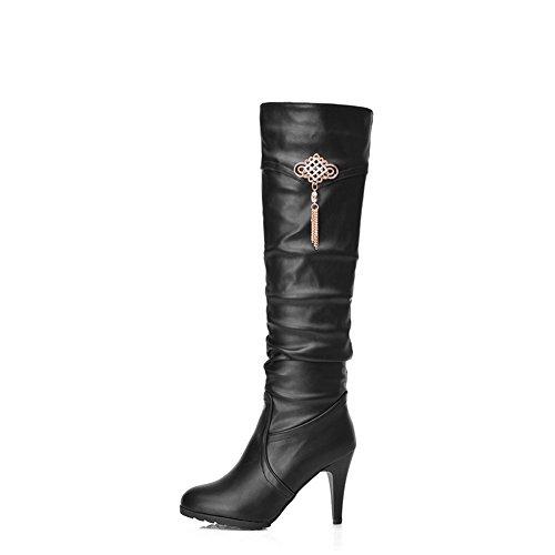 AgooLar Damen Ziehen Auf Hoher Absatz Eingelegt Hoch-Spitze Stiefel mit Metalldekoration Schwarz