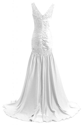 Sunvary Hochwertig Neu Traeger Satin Applikation Abendkleid Brautkleid Lang Weiß