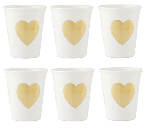 H&H H & H Amour Lot de gobelets à café, Porcelaine New Bone China, Marron, 6 unités