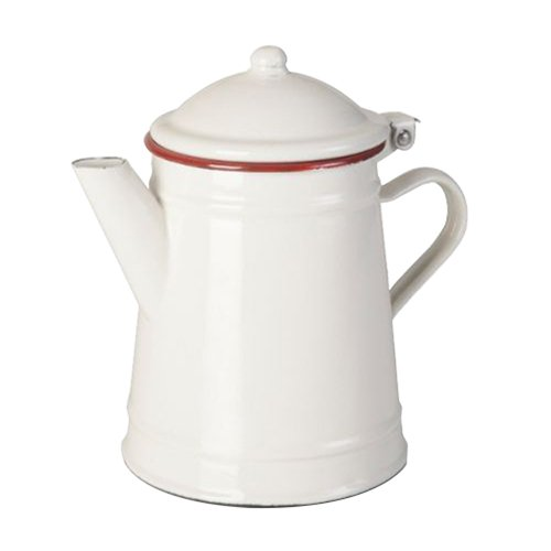 IBILI Kaffeekanne konisch 1 l aus emailliertem Stahl in weiß/rot, 10 x 10 x 20 cm
