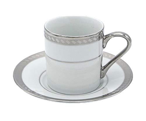 Porzellan Porzellan Espresso Türkischer Kaffee Demitasse 6er Set Tassen + Untertassen Banded Border mit Rechteck fein Demi-tasse, 3 oz, 100 ml silber Band Demitasse Cup
