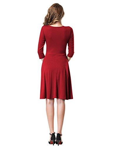 Leadingstar Damen A-Line V-Ausschnitt Kurzarm Casual Vintage Elegante Kleider 3/4 Hülse Weinrot