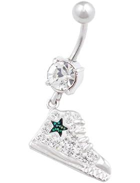 Nabel bauchnabel piercing stecker Chirurgenstahl mit Swarovski Kristalle Sneaker anhänger GAAA