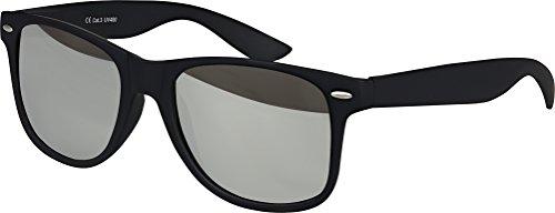 e Nerd Sonnenbrille Rubber im Retro Stil Vintage Unisex Brille mit Federscharnier farbiger Rahmen (Schwarz - Silber) (Nerd Outfits Für Männer)