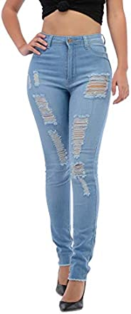 Premium Denim Jeans for Women High Waisted-Rise COLOREDR Ripped Destroyed