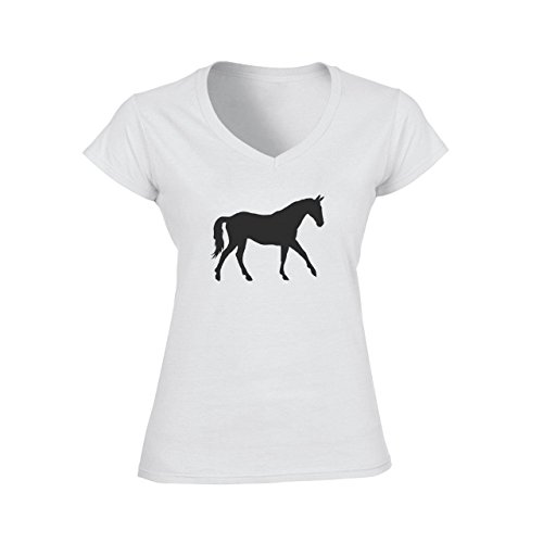 Horse Animal Pony Stud Walking Black Shadow Damen V-Neck T-Shirt Weiß