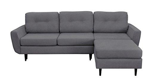 Mazzini Sofas Canapé d'Angle Droit Hortensia Convertible, Tissu, Gris Clair, 240 x 167 x 71 cm
