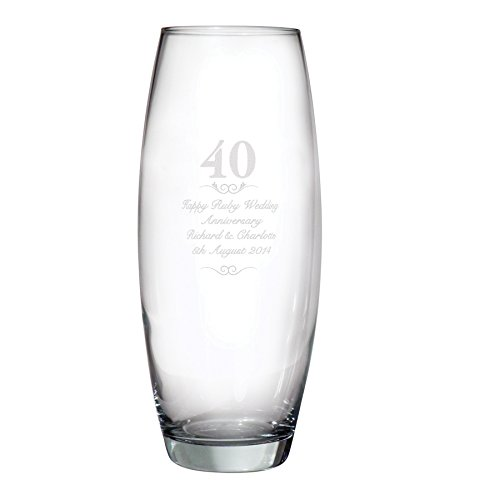 Personalised 40 Bullet Vase 40th Anniversary Vase