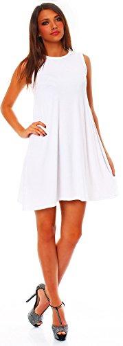 Mississhop 90-01 Damen Sommer Kleid Minikleid Top Tunika Shirt Rundhals Weiß 2XL