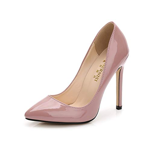 Newest sexy high Heel Shoes Pointed Toe Woman Pumps Stiletto Heels Office Lady Dress Heels Party Shoe Plus Size Ladies Taro pink 11