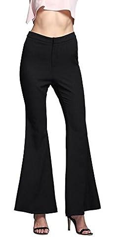 SunIfSnow - Pantalon spécial grossesse - Evasé - Uni - Femme noir noir M