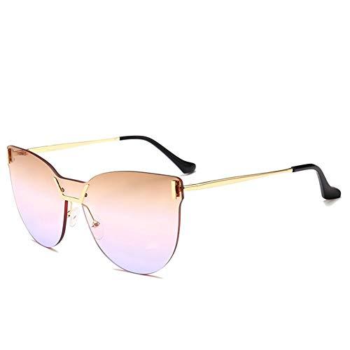 JFFFFWI Stilvolle Sonnenbrille für Frauen allmähliche Farbe Objektiv Katzenaugen einteiligen Stil rahmenlose Sonnenbrille für Frauen Männer UV-Schutz für Outdoor-Fahren Urlaub Sommer Strand UV-Schut