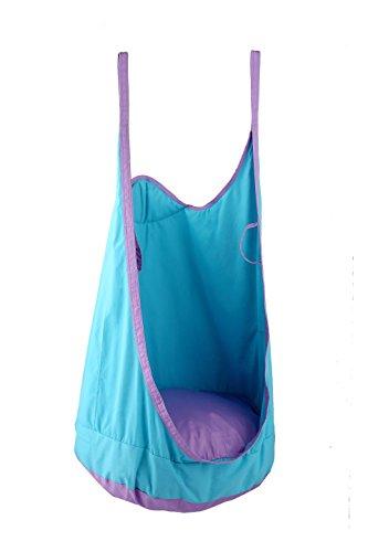 eggdel Frosch zum Aufhängen Pod Swing Sitz Innen- und Outdoor Hängematte für Kinder bis Erwachsene (Blau) (Patio Hollywoodschaukel Stuhl)