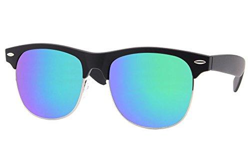 Cheapass Sonnenbrille Clubmaster Schwarz Blau Verspiegelt Retro Unisex