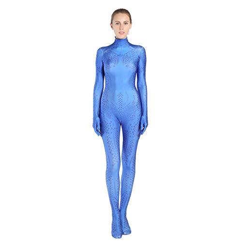 nihiug X-Men Magical Woman Anime Kostüm Strumpfhosen Erwachsene X-Men Kostüm Kind X-Men,Blue-Adult(190-200)