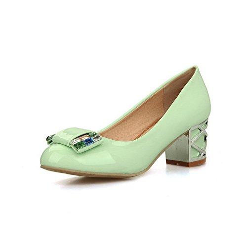 VogueZone009 Femme Tire Pu Cuir Rond à Talon Correct Couleur Unie Chaussures Légeres Vert