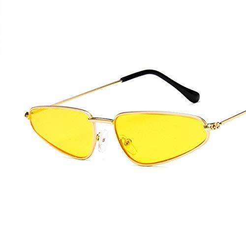 MJDABAOFA Kleine Katze Auge Sonnenbrille Frauen Vintage Metall Geformte Ozean Retro Sun Glass Drop Spiegel