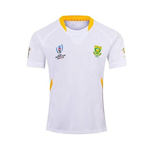 Pavilion 2019 Welt Tasse Rugby Jersey Süd Afrika Zuhause Weg Atmungsaktiv Fußball Mannschaft T-Shirt (Color : White, Size : L)