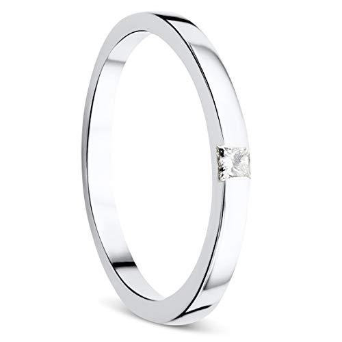 Orovi Ring für Damen Schmuck Weißgold 9 Karat/ 375 Gold Diamant Solitär VerlobungsRing mit Diamant Prinzessschliff 0.06 ct