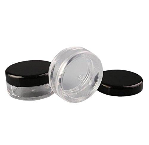 25Stück leer transparent Kosmetik Topf Jar Rund Mini Behälter Travel Make-up Probe Cream Lotion Lip Balm Lidschatten Container Flasche mit schwarzem Deckel, plastik, 3g
