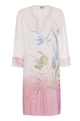 Damen Ombre Blume Kaftan Boutique Neu Damen Chiffon Wulstig Strandbedeckung weiß rosa
