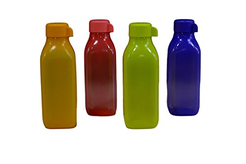 Tupperware Aqua Safe Square Frosty Plastic Water Bottle Set, 500ml, Set of 4, Multicolour  available at amazon for Rs.560