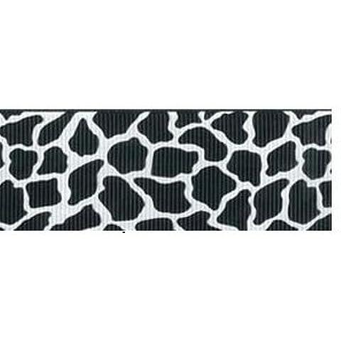 De piel de jirafa 38 mm de cinta de grogrén - blanco y negro - por metro